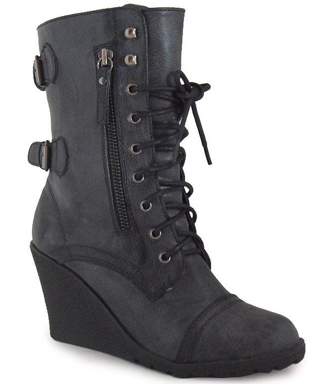 womens black ankle zip buckle lace up combat