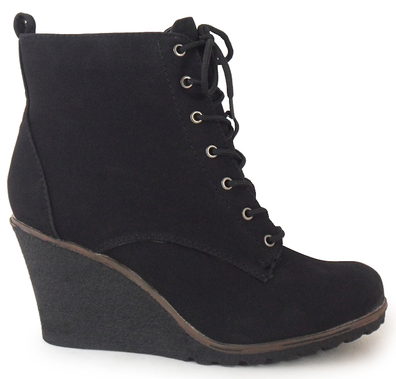 NEW-WOMENS-LADIES-BLACK-NUBUCK-ANKLE-LACE-UP-WEDGE-HEEL-SHOES-BOOTS-3-4-5-6-7-8