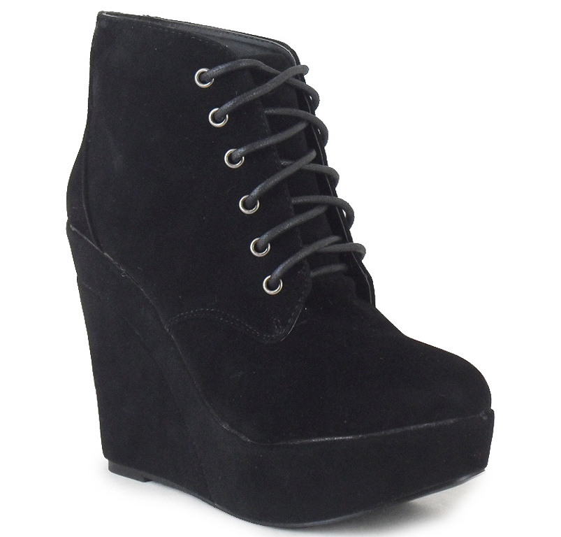 new womens black ankle platform faux suede lace up